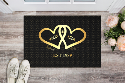 Husband & Wife With Name & Wedding Year Personalized Doormat - Ustad Home