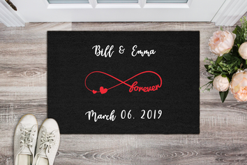"Love & Forever""MR & MRS""Personalized Doormat"