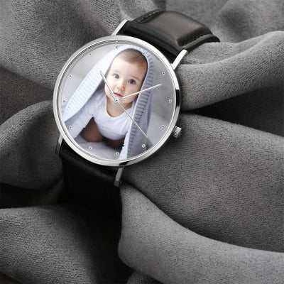 Unisex Engraved Photo Watch Black Leather