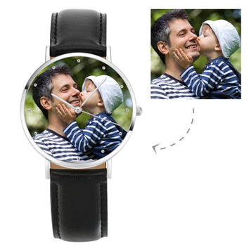 Engraved Black Leather Photo Watch