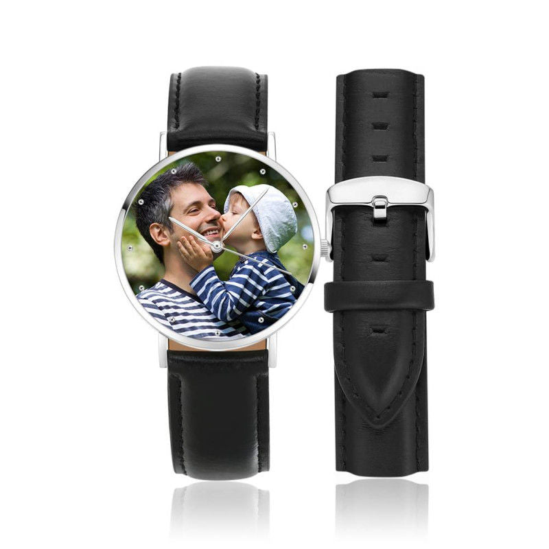Engraved Black Leather Photo Watch - Ustad Home