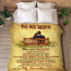 "Premium "" To My Wife, I Love You"" Couple Blanket"