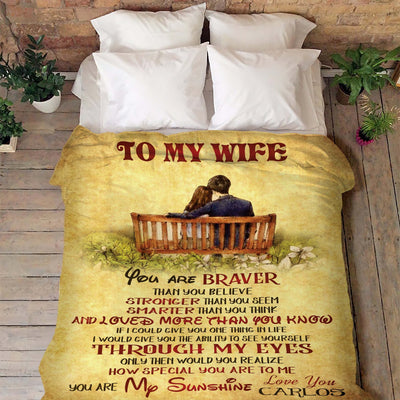 "Premium "" To My Wife, I Love You"" Couple Blanket - Ustad Home"