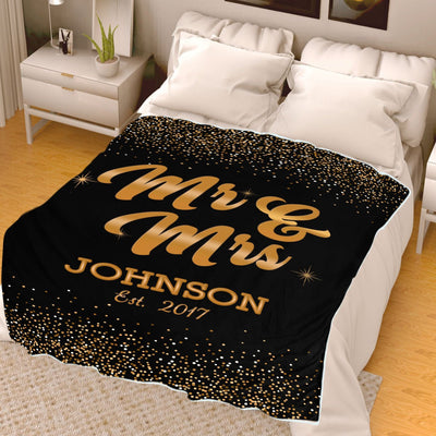 Classy Couple Blanket With Name & Wedding Year