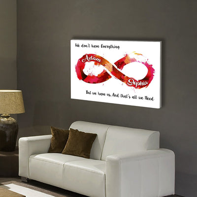 "Colorful ""ALL I NEED IS WITH YOU ALWAYS"" Canvas"
