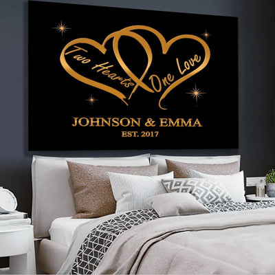"Romantic "" Two Hearts One Love "" Canvas"