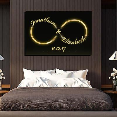 "Premium ""GOLDEN INFINITY LOVE"" Couple Canvas - Ustad Home"