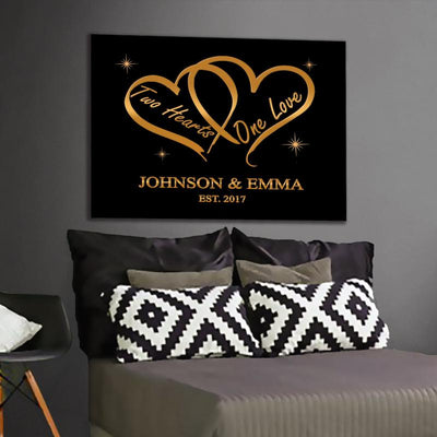 "Romantic "" Two Hearts One Love "" Canvas - Ustad Home"