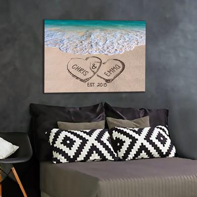 "Alluring ""LOVE ON BEACH"" Personalized Canvas - Ustad Home"