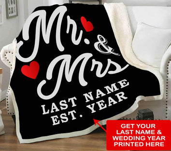 MR AND MRS BLANKET WITH NAME & WEDDING YEAR