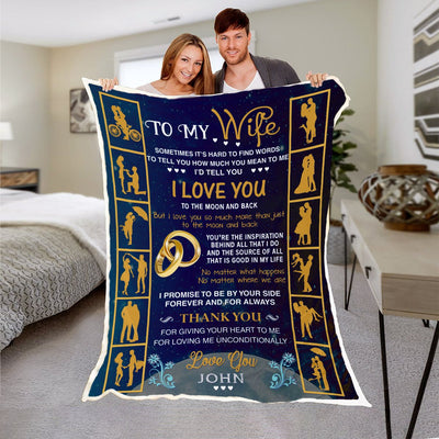 "Luxury "" To My Beloved Wife"" Personalized Blanket"