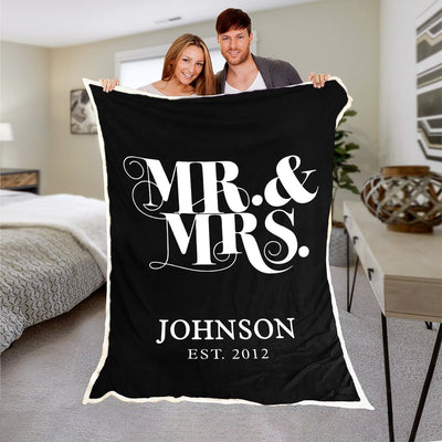 Exclusive Mr. & Mrs. Personalized Couple Blanket