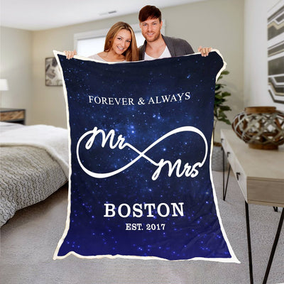 Mr & Mrs. Galaxy Space Blanket With Name & Wedding Year