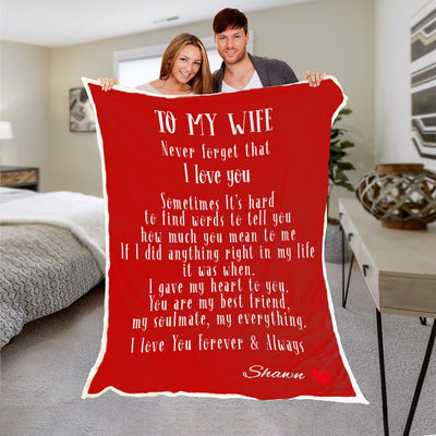 "Premium "" To My Wife "" Personalized Blanket - Ustad Home"