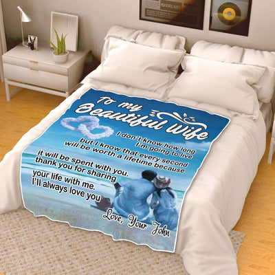 "Premium "" To My Beautiful Wife "" Couples Blanket - Ustad Home"