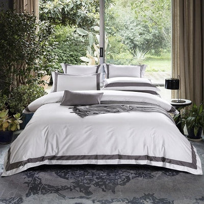 Egyptian Cotton Hotel White Bedding Set - Ustad Home