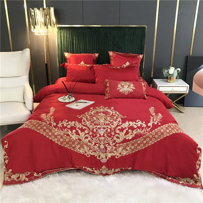 New White Luxury European Satin Silk Cotton Bedding Set - Ustad Home