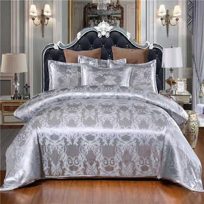 Luxury Bedding Satin Jacquard Duvet Cover Sets with Zipper Closure - Ustad Home
