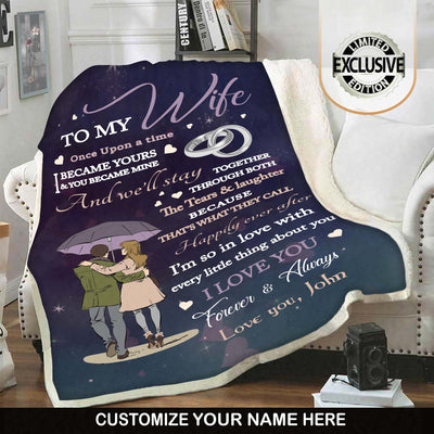 "Premium "" I Became Yours & You Became Mine "" Couples Blanket - Ustad Home"