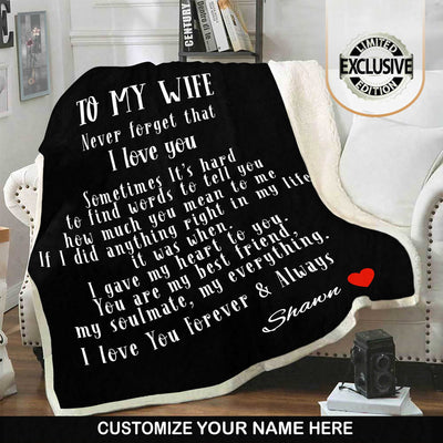 "Premium "" To My Wife "" Personalized Blanket"