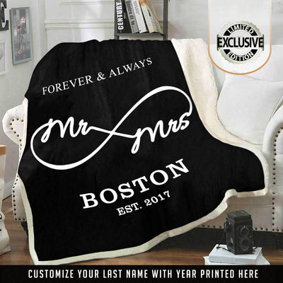 "Deluxe "" Forever & Always "" Personalized Blanket"
