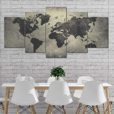 World Map - 5 Panels Set - Ustad Home
