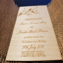 Invitations laser cut and engraved