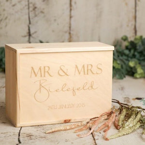 A lovely way to store the precious keepsakes from your Wedding Day. This product also makes a wonderful Wedding Gift. The couples name and Wedding Date are laser engraved on the lid of the box.