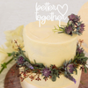 Our Cake Toppers are a great way to personalise your cake and bring life to your Wedding or Engagement Party. Choose various colours of acrylic or bamboo. The words Better Together are set beside a love heart.