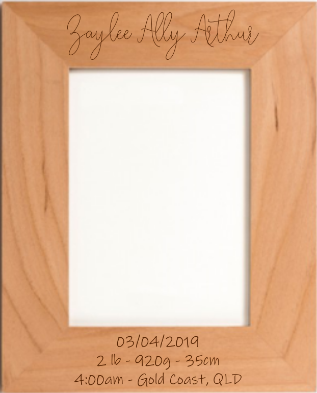 This gorgeous frame makes a wonderful gift or keepsake for the new parents to be. Laser engraved with the child's full name, date and time of birth, weight and length.
