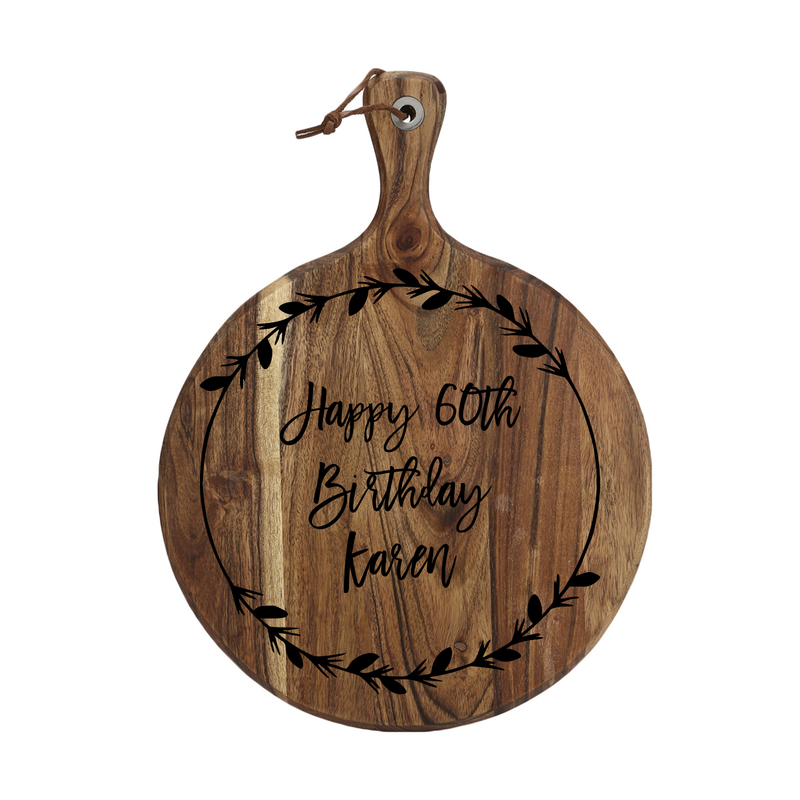 Our engraved Serving Boards make a wonderful gift. This Birthday Serving Board gift is made from beautiful Acacia Wood and is laser engraved to personalise. It features a custom name and birthay age