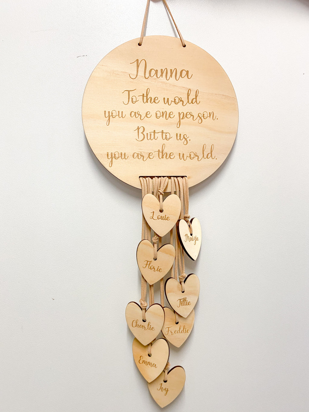 Plaque with Names in Hearts