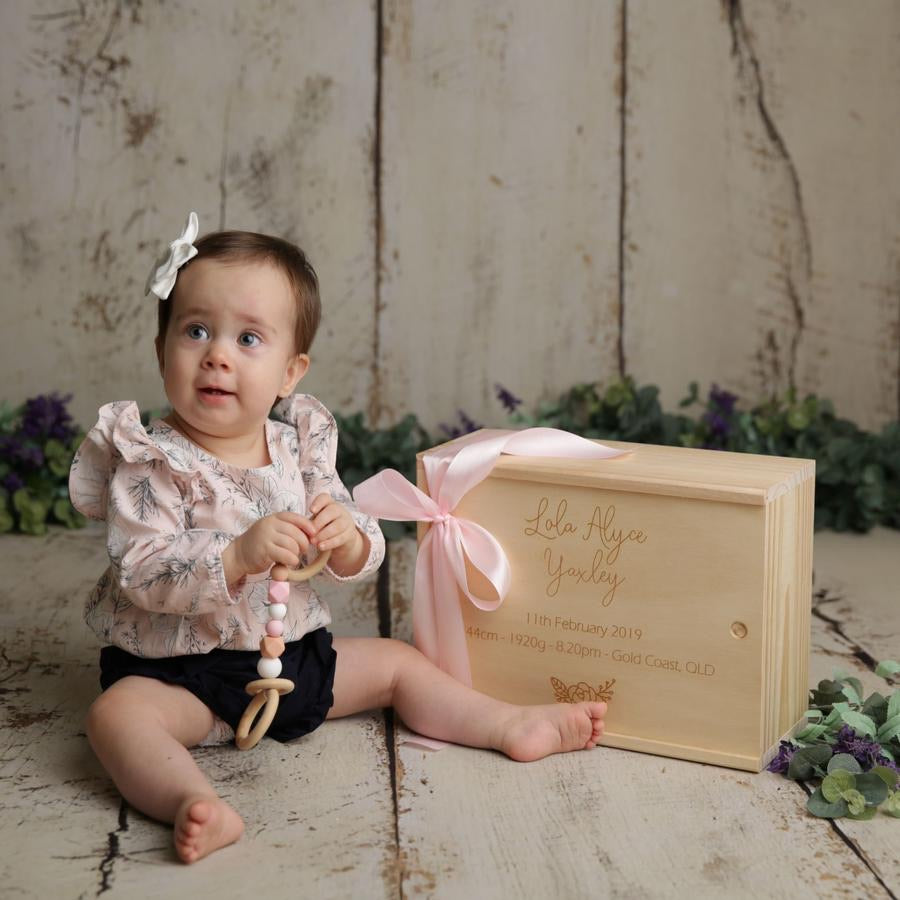 Our Wooden Keepsake Box is a  lovely way to remember your little ones birth details and a perfect safe place to store all those precious keepsakes. It is laser engraved with the precuious details of your little ones birth, such a Full name, Date, Time, Length, Birth Weight, Time and Place