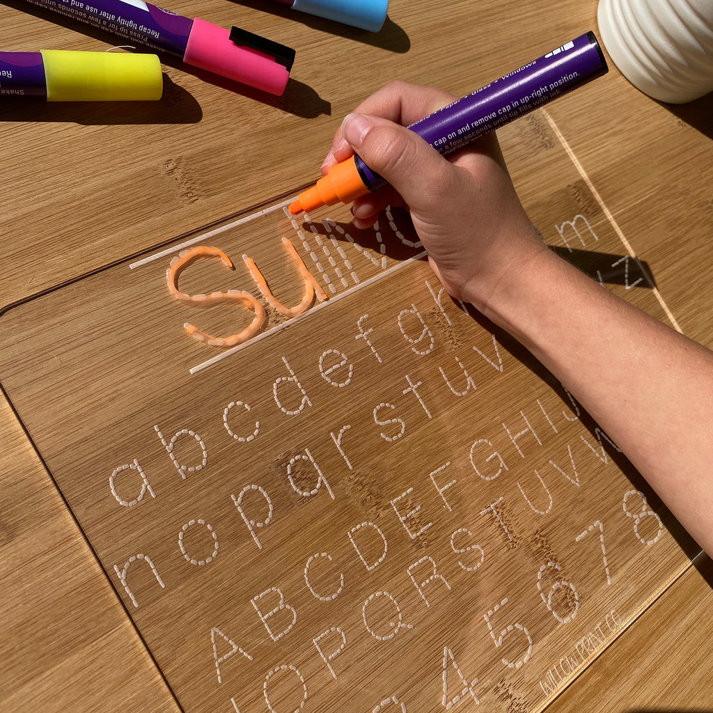 Our acrylic tracing boards are a wonderful way for your child to learn to write their name, the alphabet and their numbers. The beauty of these is that they wipe clean with a wet micro fibre cloth. You can use liquid chalk pens or whiteboard markers to write.