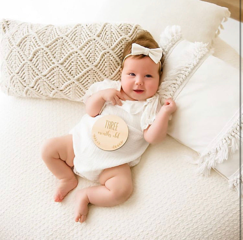 Our Milestone Cards are a great way to be able to capture a photo of your little one, remembering them at a particular age. Made out of beautiful hoop pine ply and engraved with the age on them.