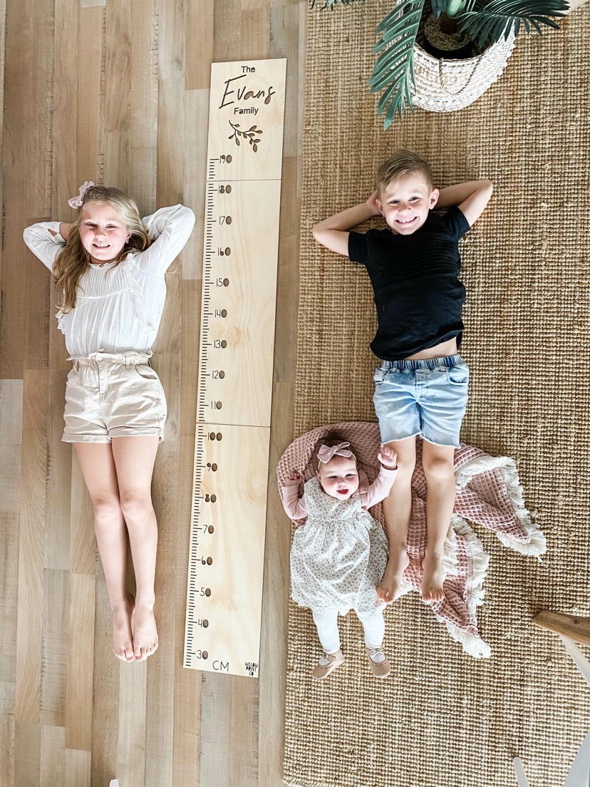 Family Personalised Wooden Height Chart
