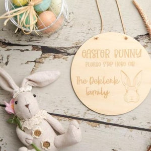 Custom Easter Bunny Please Stop Here Plaque