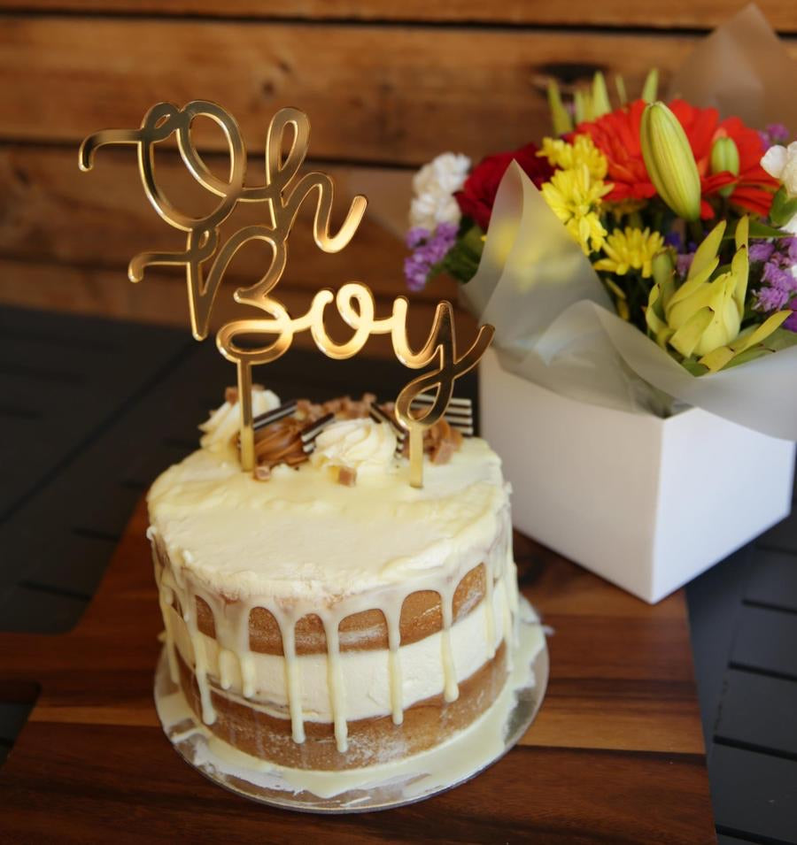 This gorgeous laser cut Oh Boy Cake Topper is the perfect addition to your Baby Shower. Available in acrylic or bamboo. The word Oh is set atop the word Boy in a lovely script font.