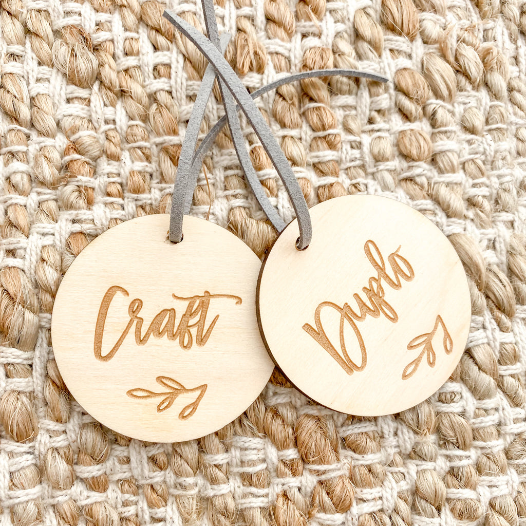 Custom Play Room/ Organisation Tags (set of 6)