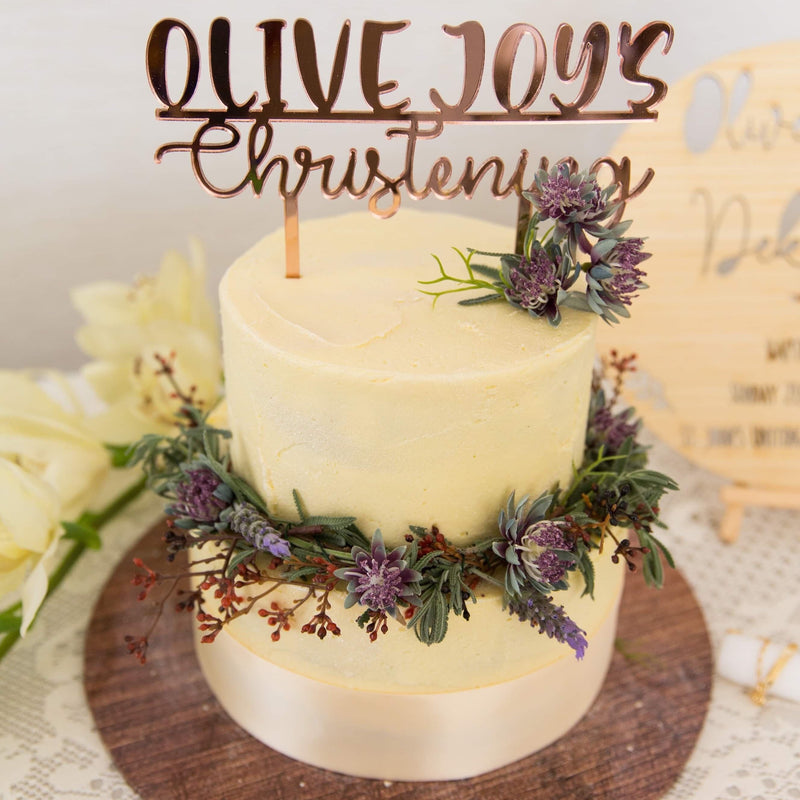 The Christening and Baptism Cake Topper is the perfect addition to a child's special day. Available in a variety of acrylic colours and bamboo. Featuring your child's name and the word baptism or christening.
