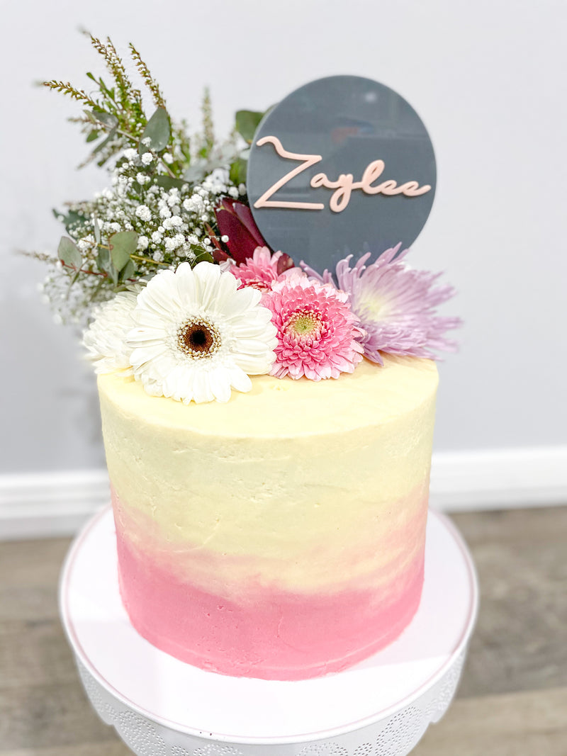Custom Cake Topper- Name on Disc