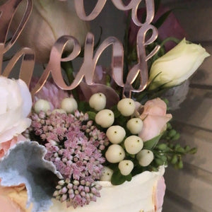 Our Hens Cake Topper is the perfect addition to your hens night or bridal shower. Choose from various coloured acrylics or bamboo ply. This beautiful cake topper features script writing with a custom name.