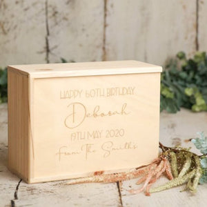 A special wooden keepsake box to treasure memorabilia from a specific birthday. Whether is be 18, 21, 30, 50 or any other age in between! This box comes with a special personalised message laser engraved on the top of the box.
