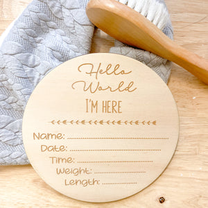 Round Birth Announcement Disc