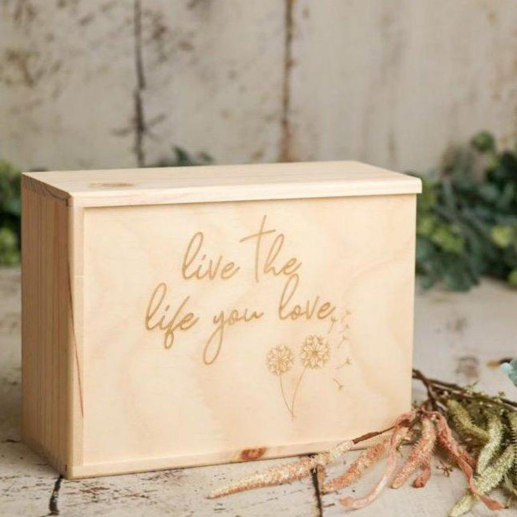 Can't quite find the perfect wooden keepsake box for you? Our custom listing includes your ideas, designed by us. Whether is be to store Grandma's treasured recipes, or as a gift with a specific message. We will work with you to create the perfect message to be laser engraved on the lid of the box.