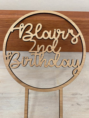 Custom Age Cake Topper in Round Hoop