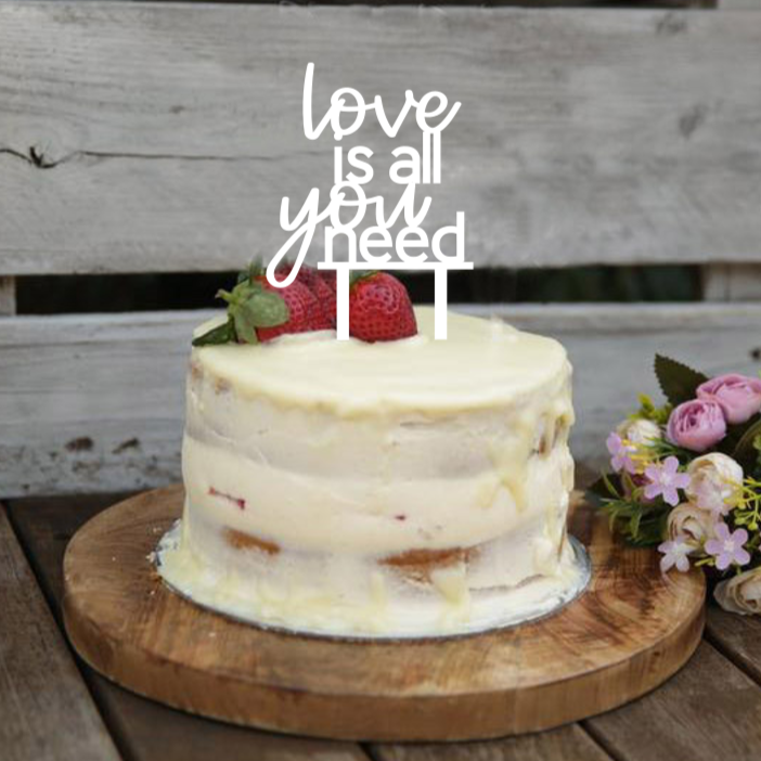 This cake topper is a great way to bring some fun to you wedding or engagement party. With the words love is all you need in lovely script writing. This 4 tier cake topper is gorgeous.