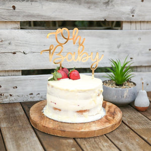 This gorgeous laser cut Oh Baby Cake Topper is the perfect addition to your Baby Shower Available in acrylic or bamboo. The word Oh is stacked nicely on top of Baby in a lovely script font.