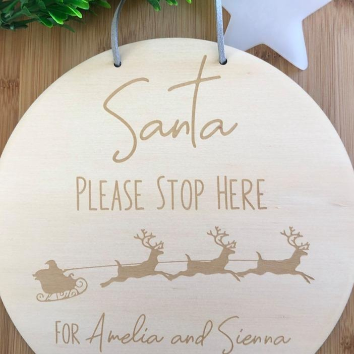 Custom Santa Stop Here Plaque