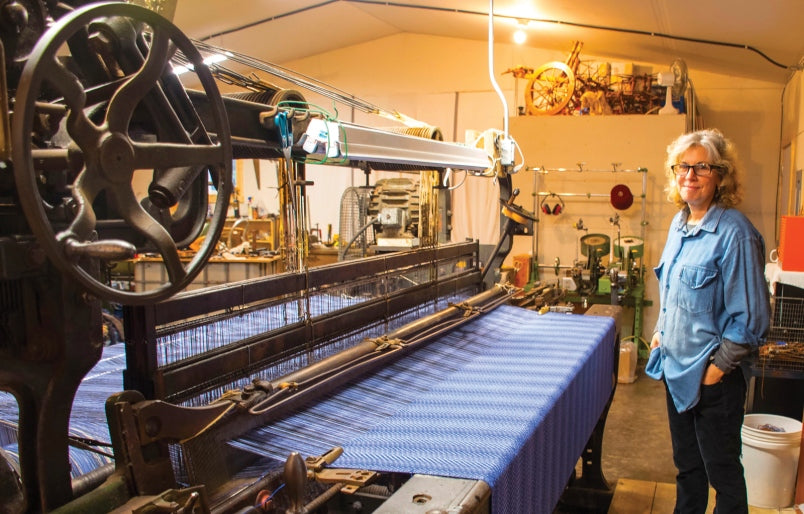 Heirloom blanket being woven on a 1936 Dobcross Loom